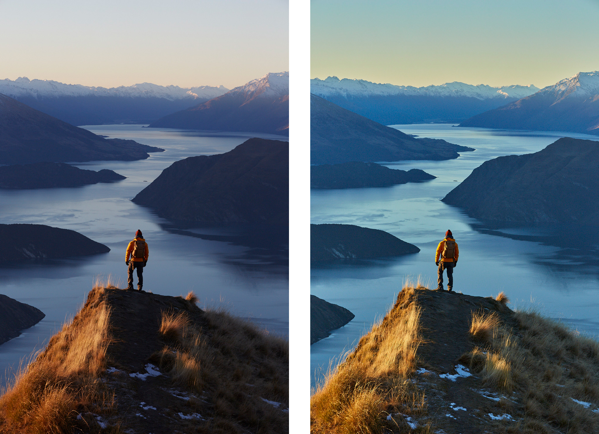 The original image out of camera on left vs the developed image in Capture One Pro on the right.
