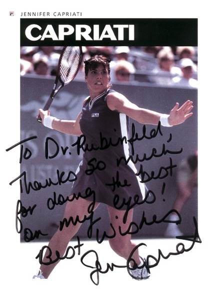 Jennifer Capriati's autographed photo she gave to Dr. Rubinfeld after surgery.