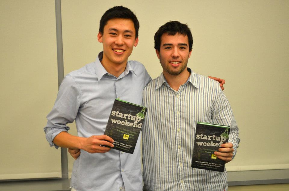 Mike and I at Startup Weekend, Spring 2012 - 2nd prize was a free book