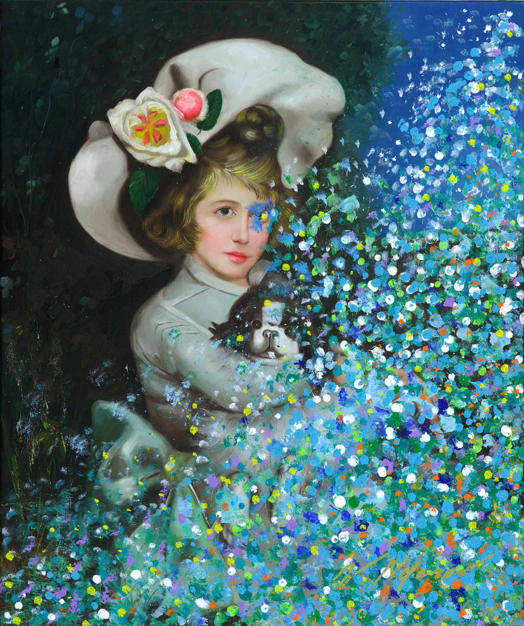 """Young Girl With Puppy In Blues 24""""H x 20""""W"""