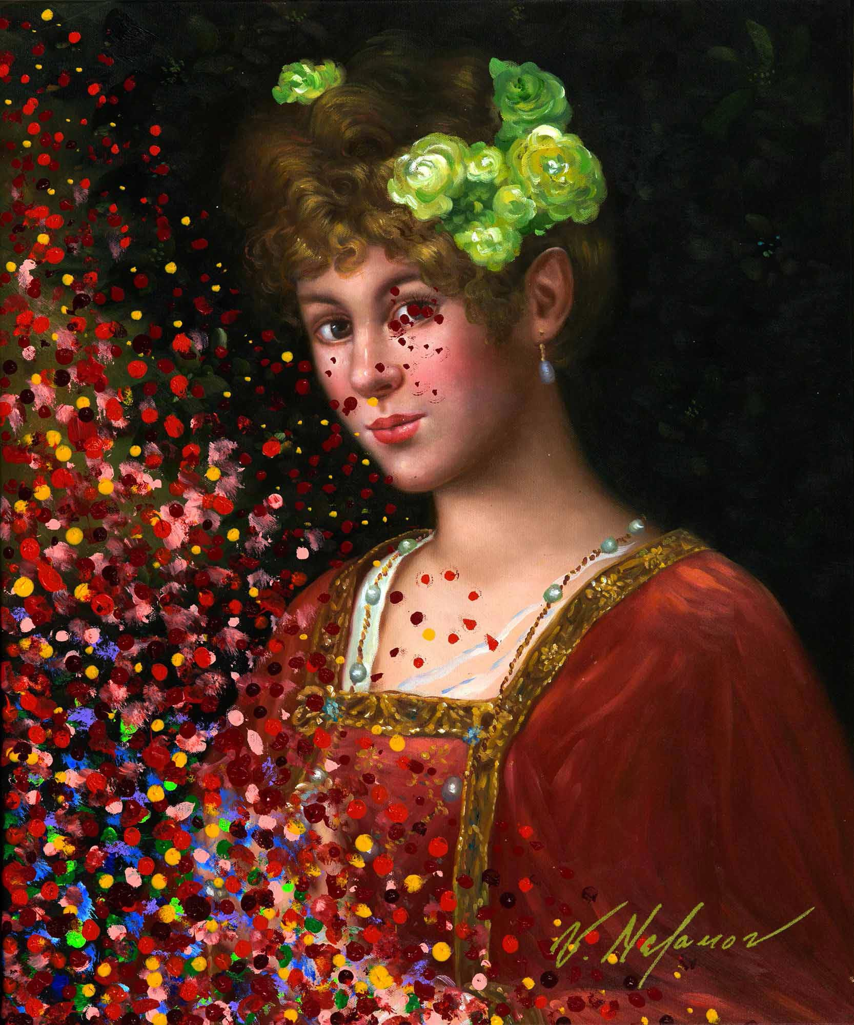 Young Woman In Reds