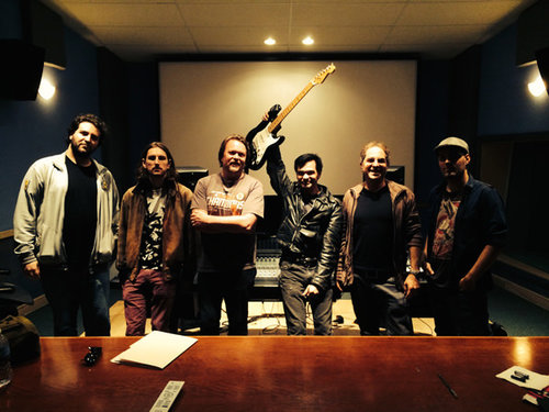 Pictured Above L to R -  Dan Sartain session: Paulo Bohrer Filho (Lead Guitar), Ben Anderson (Drums & Guitar), Steve Heithecker (Engineer) Dan Sartain, Gregory J. Gordon, Ed Baztan (Assistant Engineer)