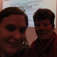 Wendy S., self-advocate, and Krescene share The Silent #MeToo at Southern Illinois University at Edwardsville in April 2018,