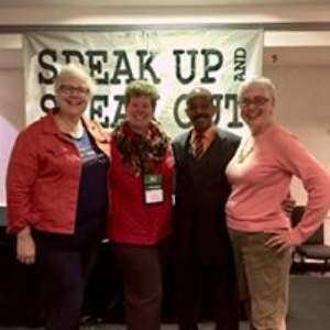 Leanne, Krescene and Linda with Illinois Division of Developmental Disabilities Director Greg Fenton at the 2017 Speak Up and Speak Out Conference