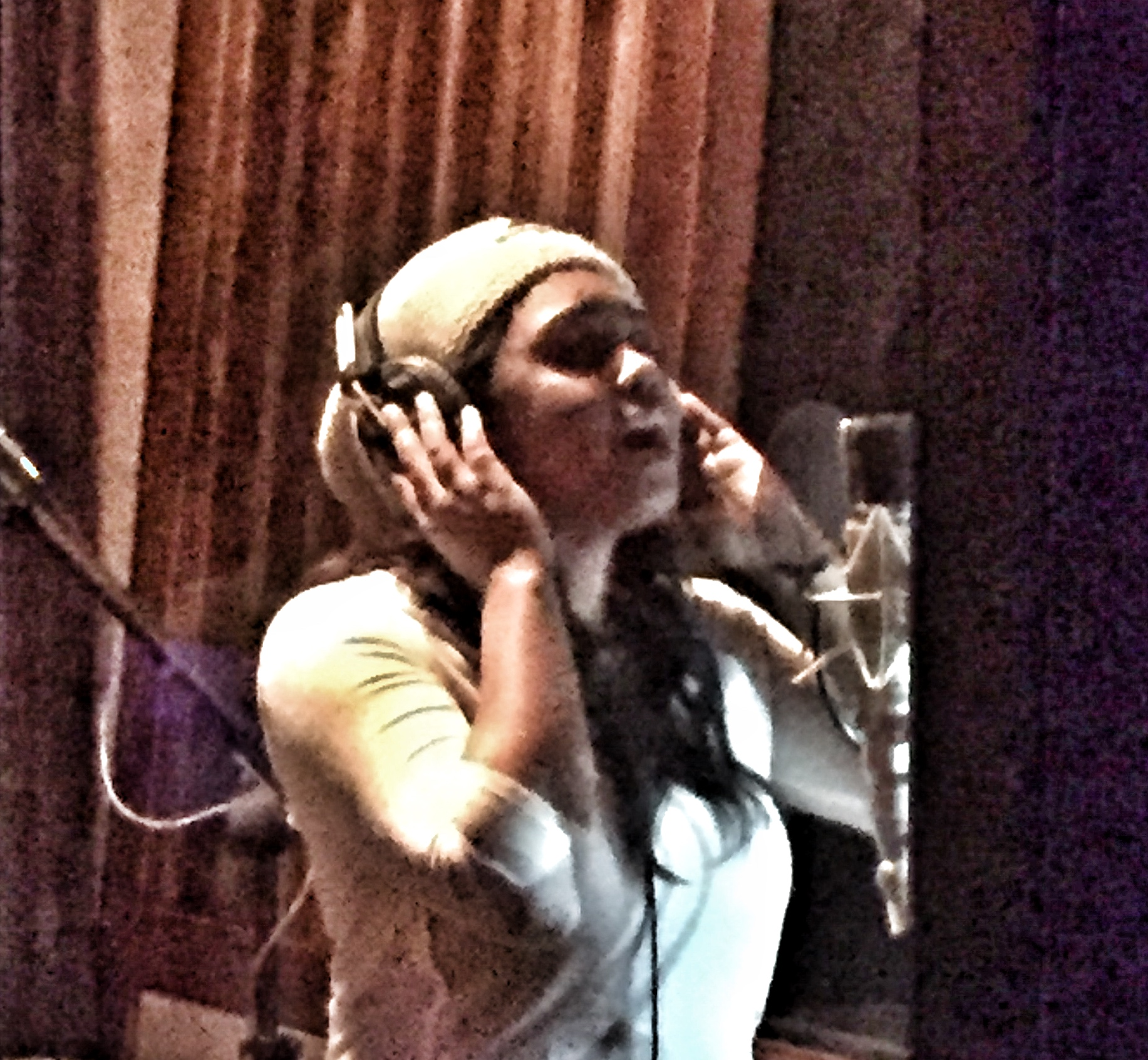 Sarina-Joi Crowe laying down vocal for Disco Slam
