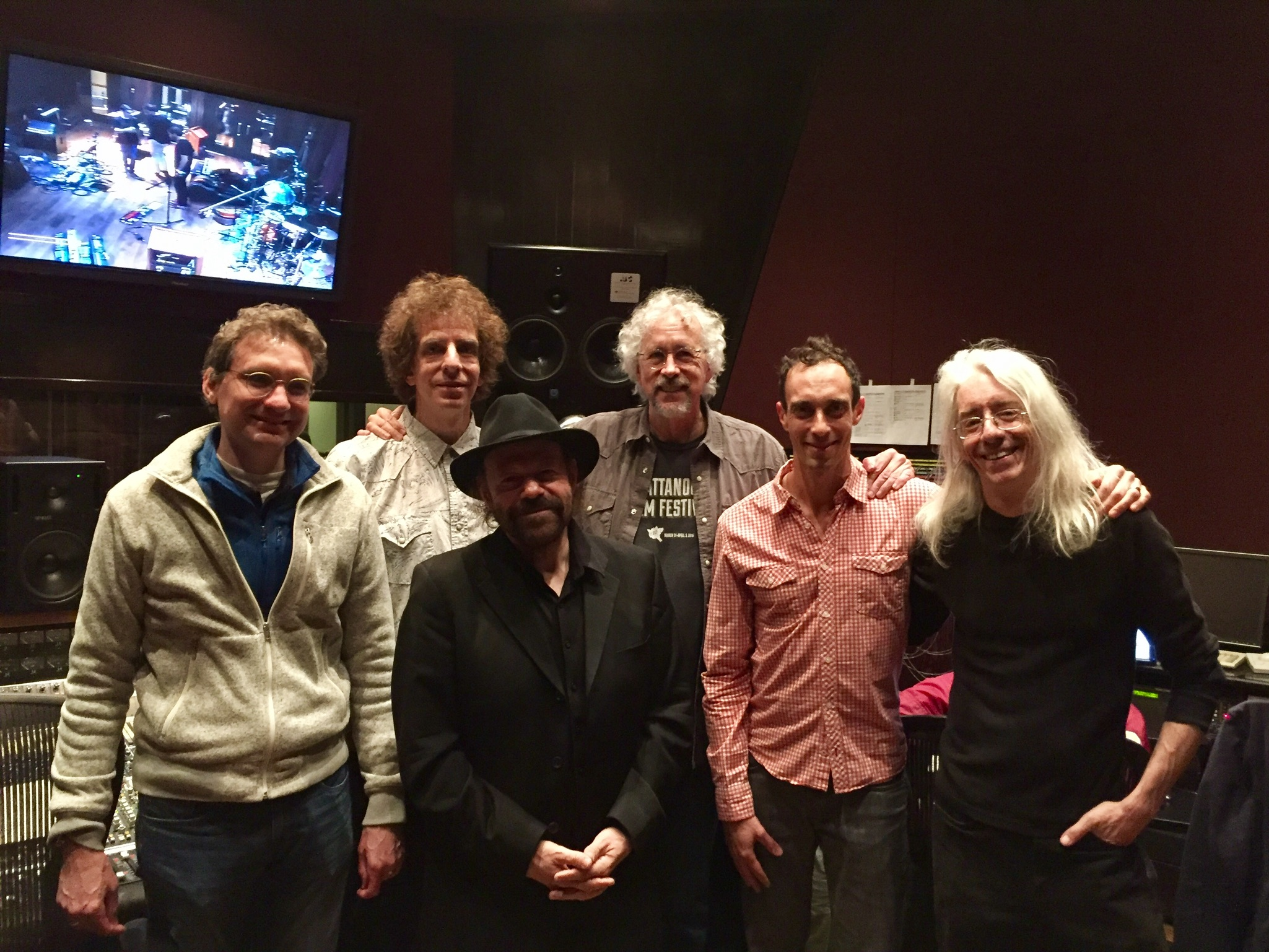 """Faith In Doubt"" Blackbird sessions, L to R: Viktor Krauss, Mark Rubel, Colin Linden, Rick Clark, Jano Rix, Ross Rice"