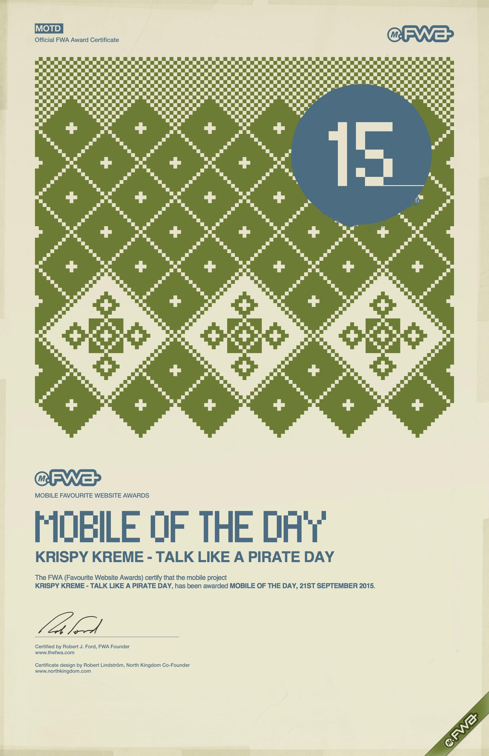 Martin Davidson Creative Director Krispy Kreme Pirate Day FWA Mobile Site of the Day.jpg
