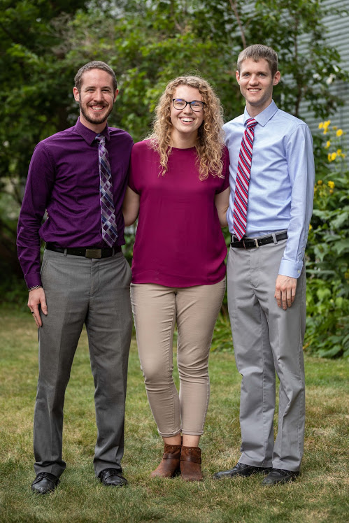 The Teach for Christ Team serving at Chesterton Academy, Lucas Berke, Sophia Rick, Colby Cantillon (from left to right).