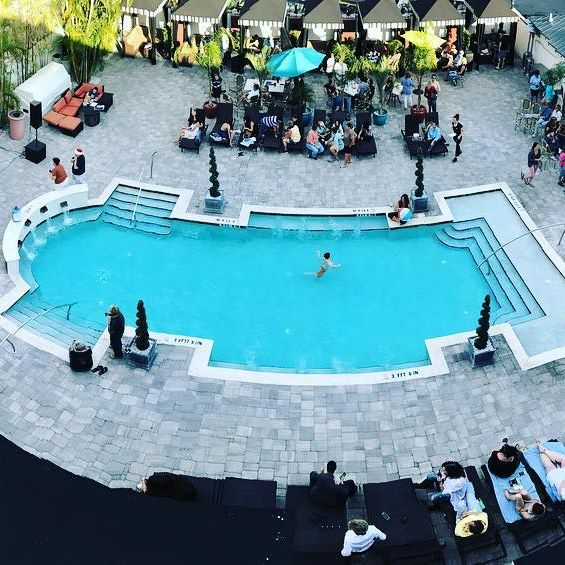 Aerial view of the Hollander Hotel pool