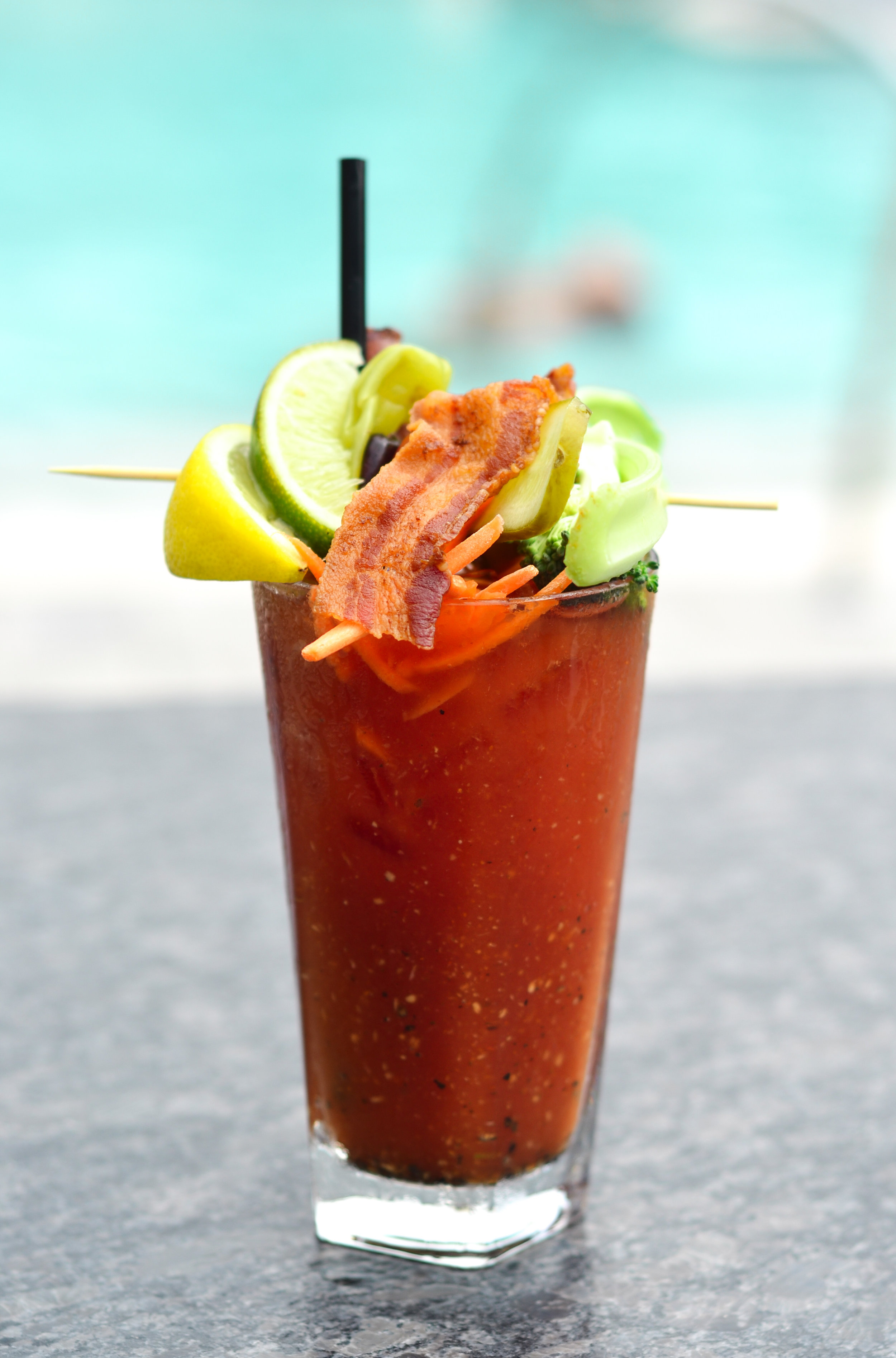 Bloody Mary cocktail by the pool