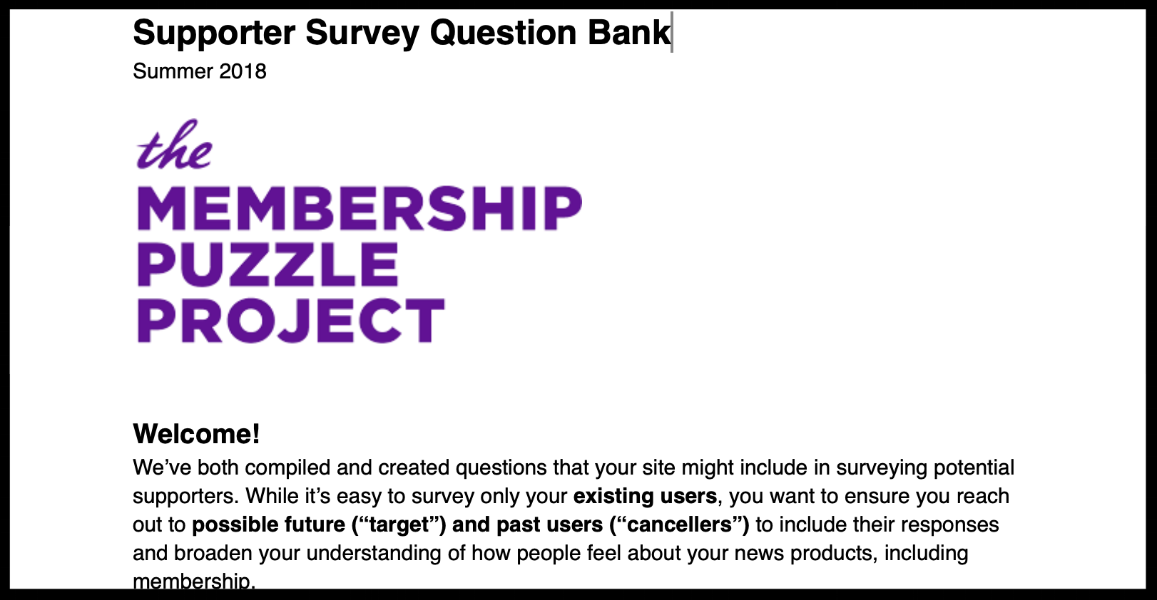 MPP Survey Question Bank - Created MPP's resource to help news orgs build surveys as a first step in membership development