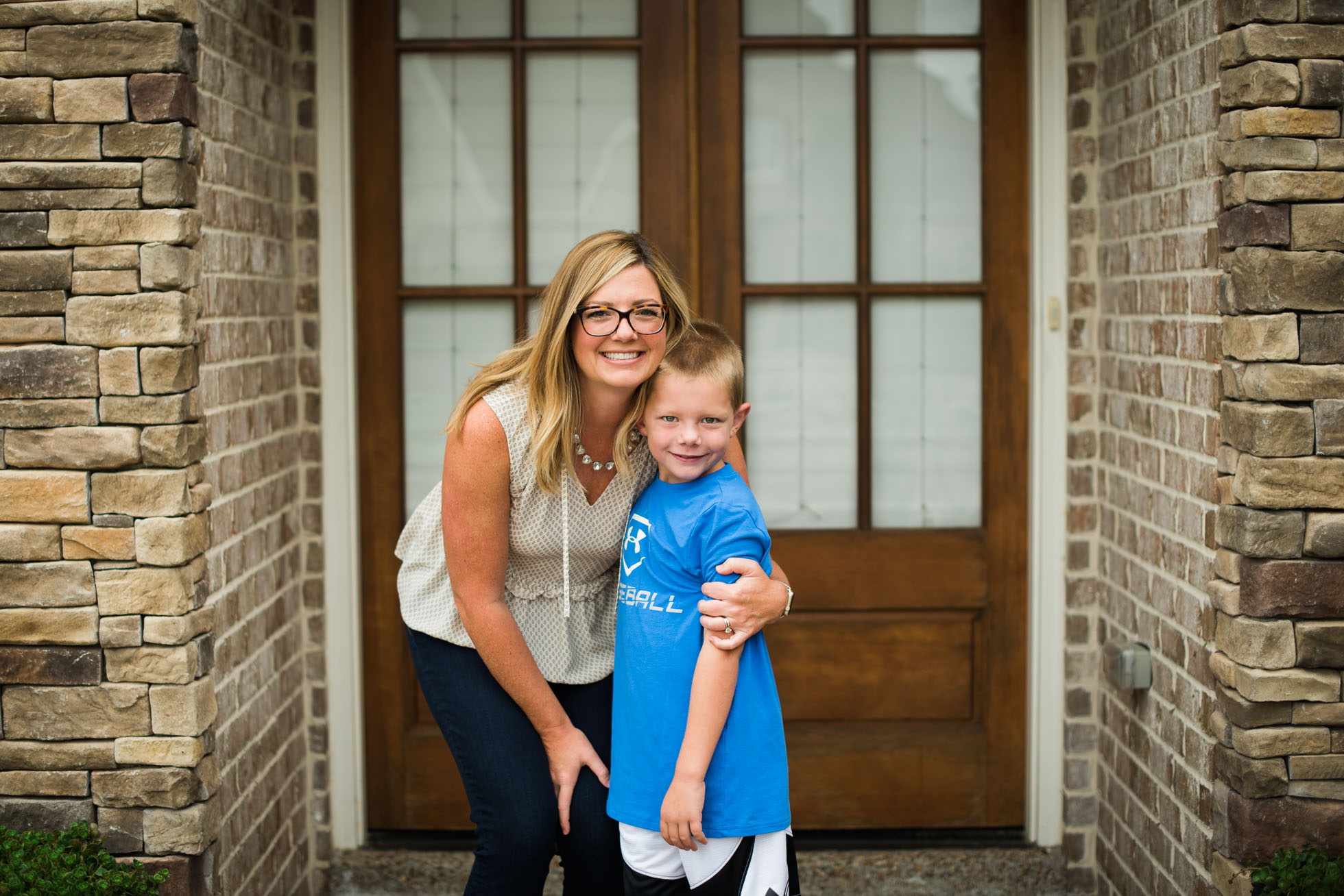 Mom and son first day of school photos