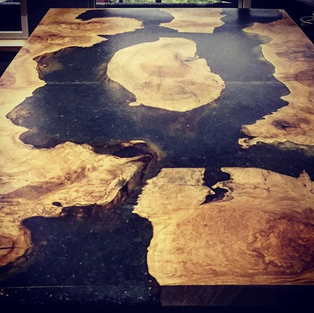 Fancy new design for our instock items, called Navigators  Pass. Spalted maple with crushed glass and clear epoxy. Like no other!!🌳🌲 #westcoast #liveedgetable #liveedge #design #maple woodworking #table #diningtable #handmade #westcoastcontemporary #resin #functionalart #willowgroove #yyj