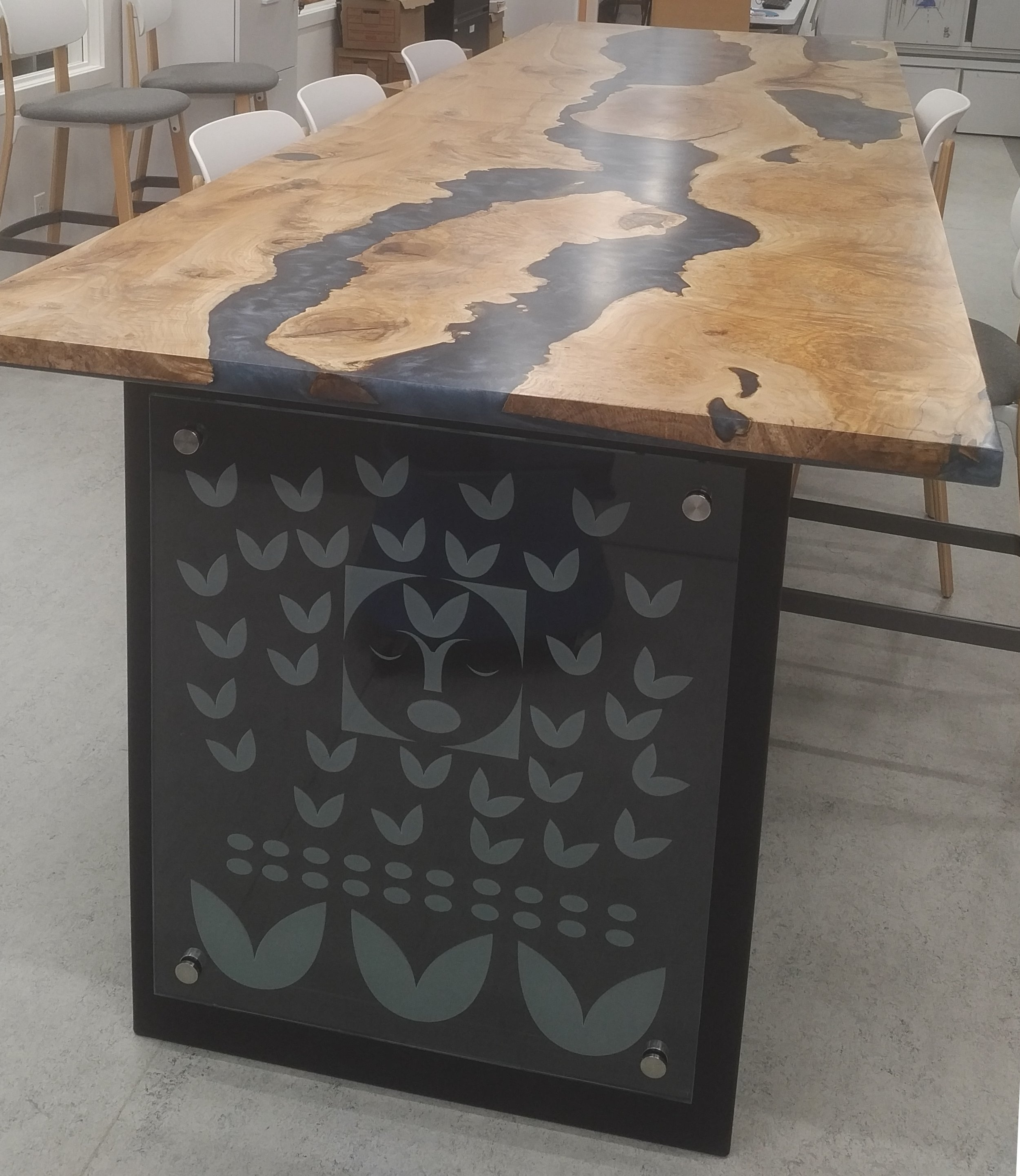 Maple Ocean Blue Boardroom Table