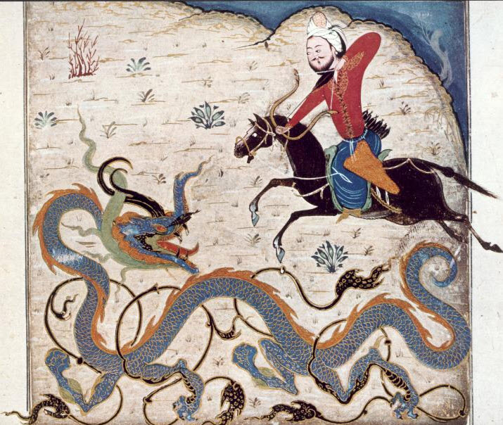 Persian Thor Bahram the Gor Killing the Dragon 1370-1371 CE