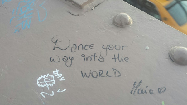 Just one of the many writings on the Brooklyn Bridge
