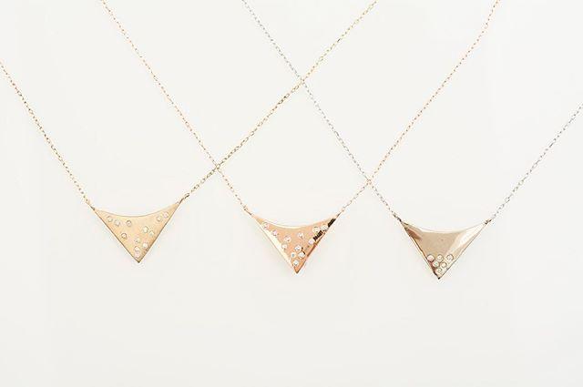 14k Yellow, Rose and White Gold Diamond Pendants.