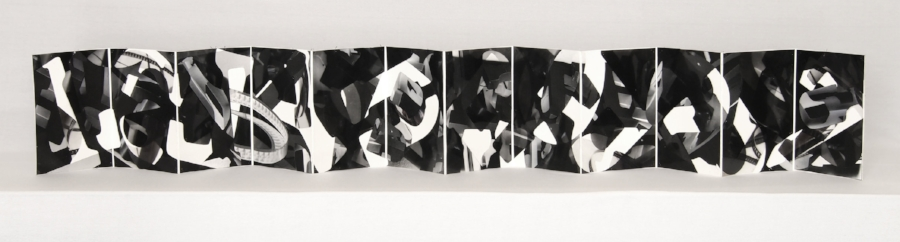 "Cynthia Laureen Vogt,  ""N"" Is For What Is Not , 2016, mixed media artist's book, 5"" x 4"", unfolds to 40"" length."