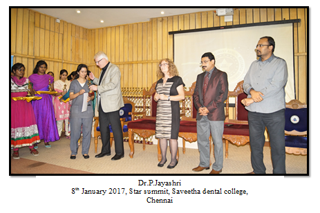 Best Poster - Dr.P.Jayashri- III yr Post GraduateTitle: Comparing the effectiveness of probiotic, green tea, Chlorhexidine and fluoride containing dentifrices on oral microbial flora - A double blind randomized clinical trial