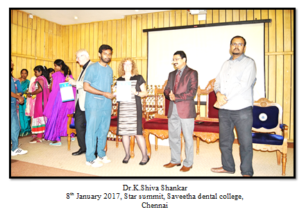 Best Poster - Dr.K.Shiva Shankar - II yr Post GraduateTitle: Halitometer - A new instrument to detect halitosis