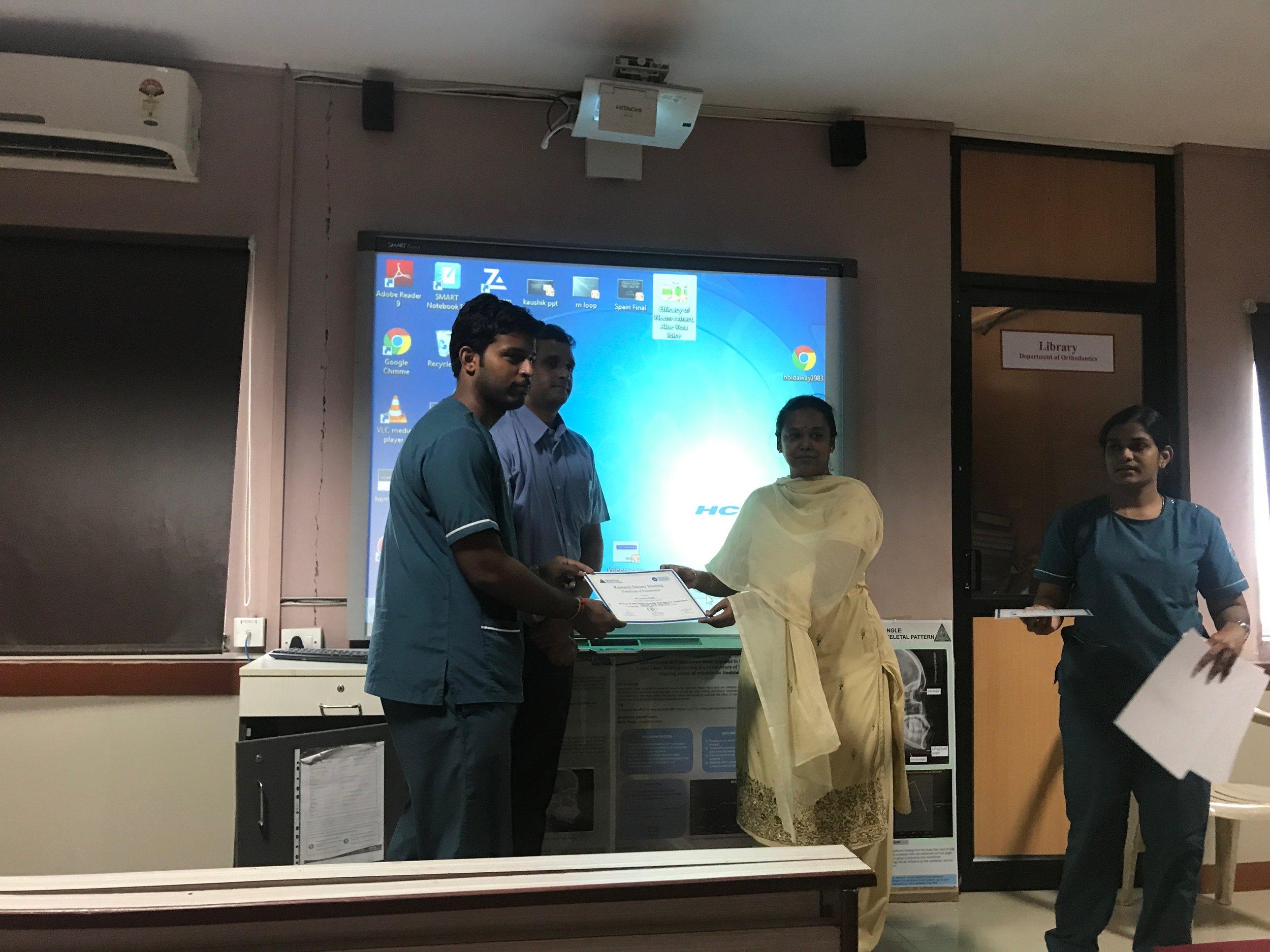 Best Paper - Dr.Shiva shankar - III year post GraduateTitle: Efficacy of Neem extract, Aloevera juice and 0.2% Chlorhexidine against DUWL pathogens
