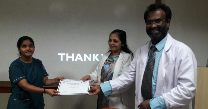 Best Paper - Dr.E.Maheshwari - II Year PostgraduateTitle: Association of signs and symptoms of Tempro Mandibular Joint disorder between gender, Partial edentulism and Malocclusion among dental patients in Chennai