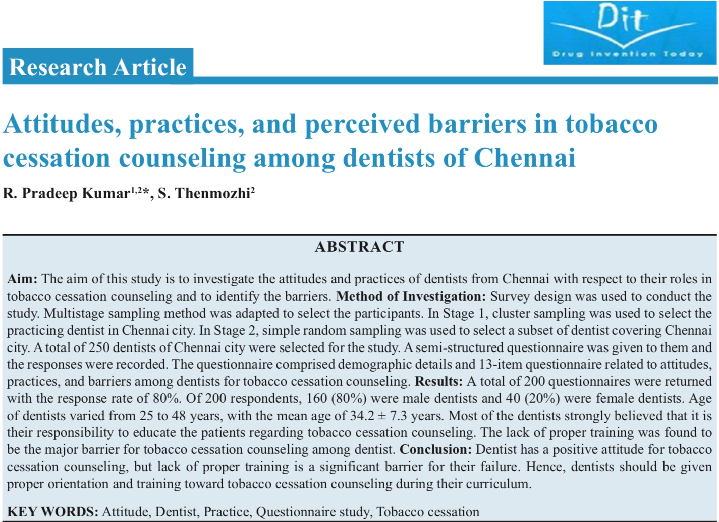 Dentist's barrier towards Tobacco cessation practices -