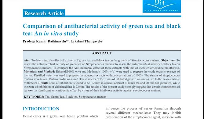 Antibacterial activity of Green Tea -