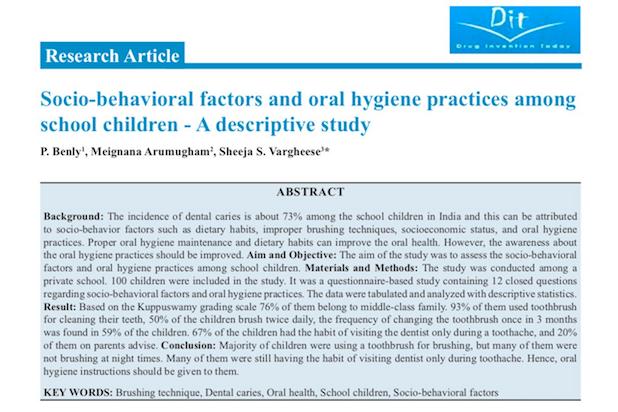Socio behavioural factors and Oral Hygiene -