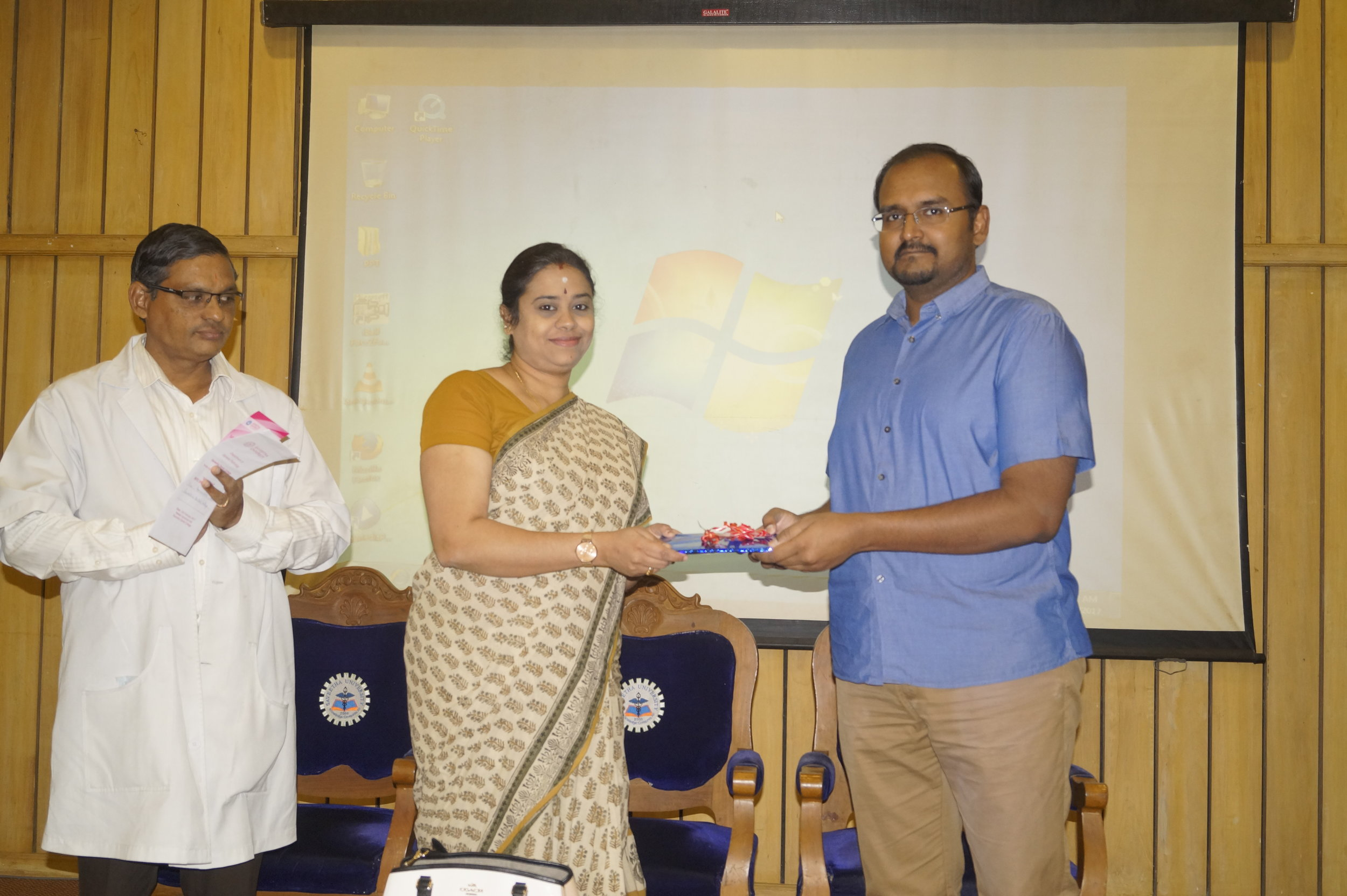 Our Director of academics felicitating the Chief Guest Dr. Vijayalakshmi, Adyar Cancer Institute.