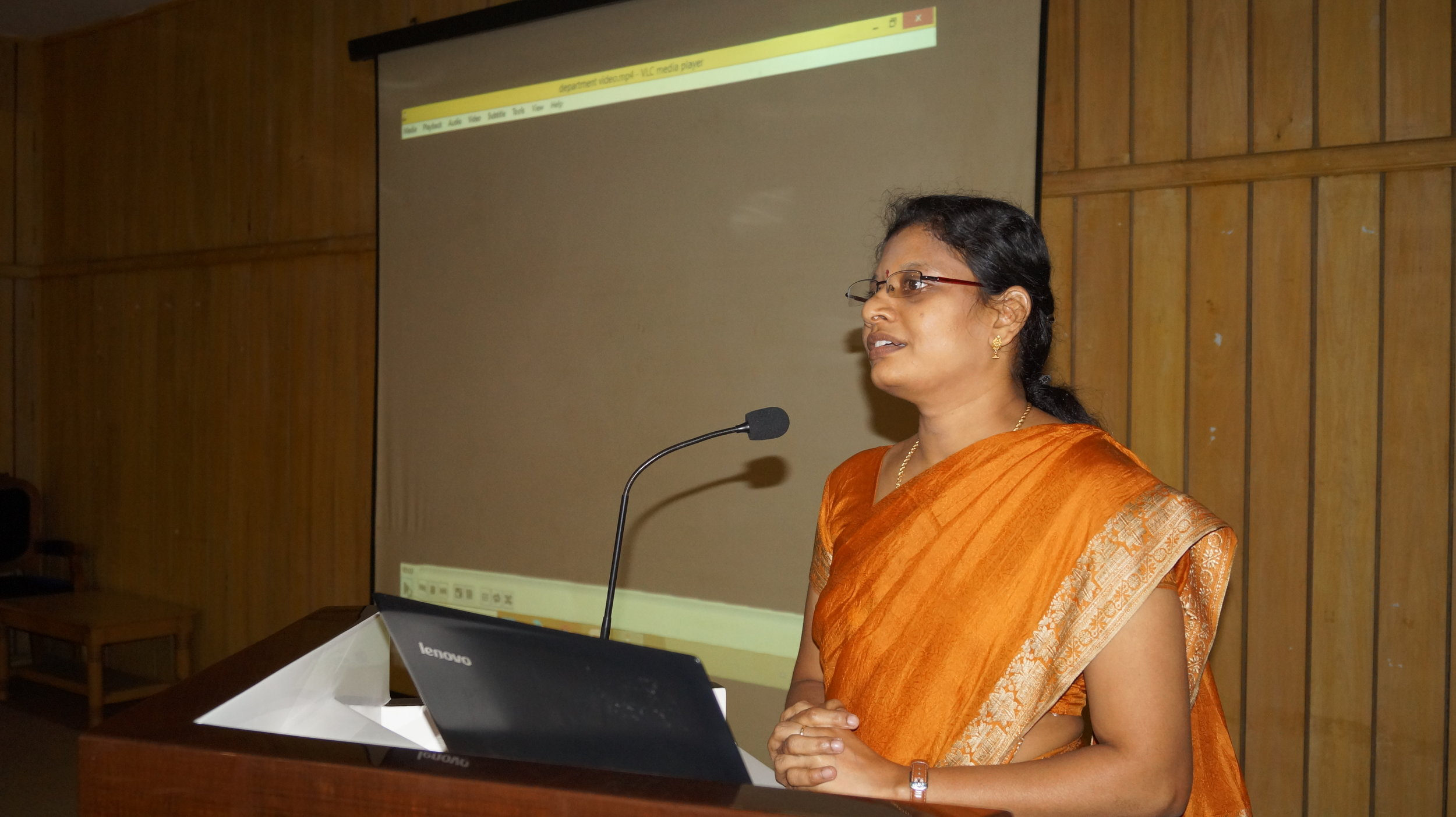 Dr.M.P.Brundha presenting the achievements and department activities in EDIFY