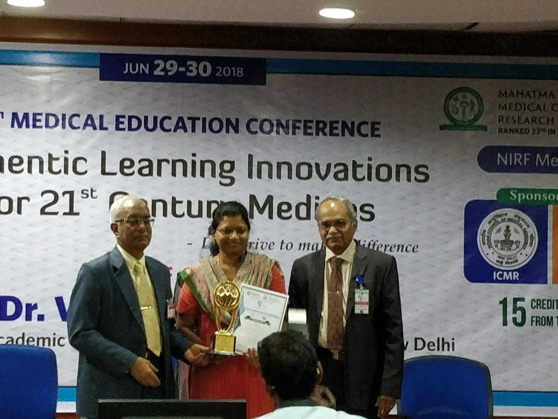 Dr.M.P.Brundha got Best Research presentation award about the Innovations in Medical education held at Mahatma Gandhi Medical College, Pondicherry.