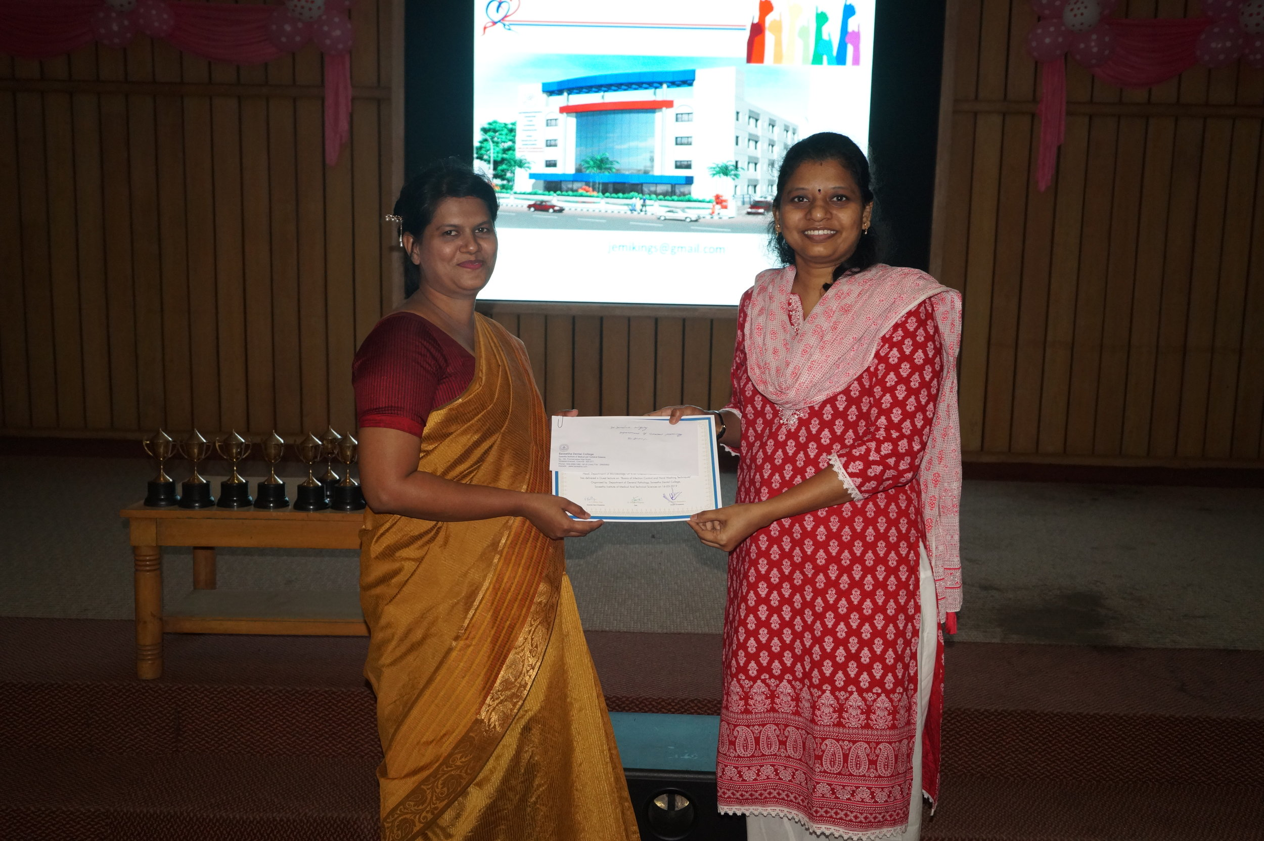 Dr. Jemima Kingsley felicitated by Dr. M.P.Brundha