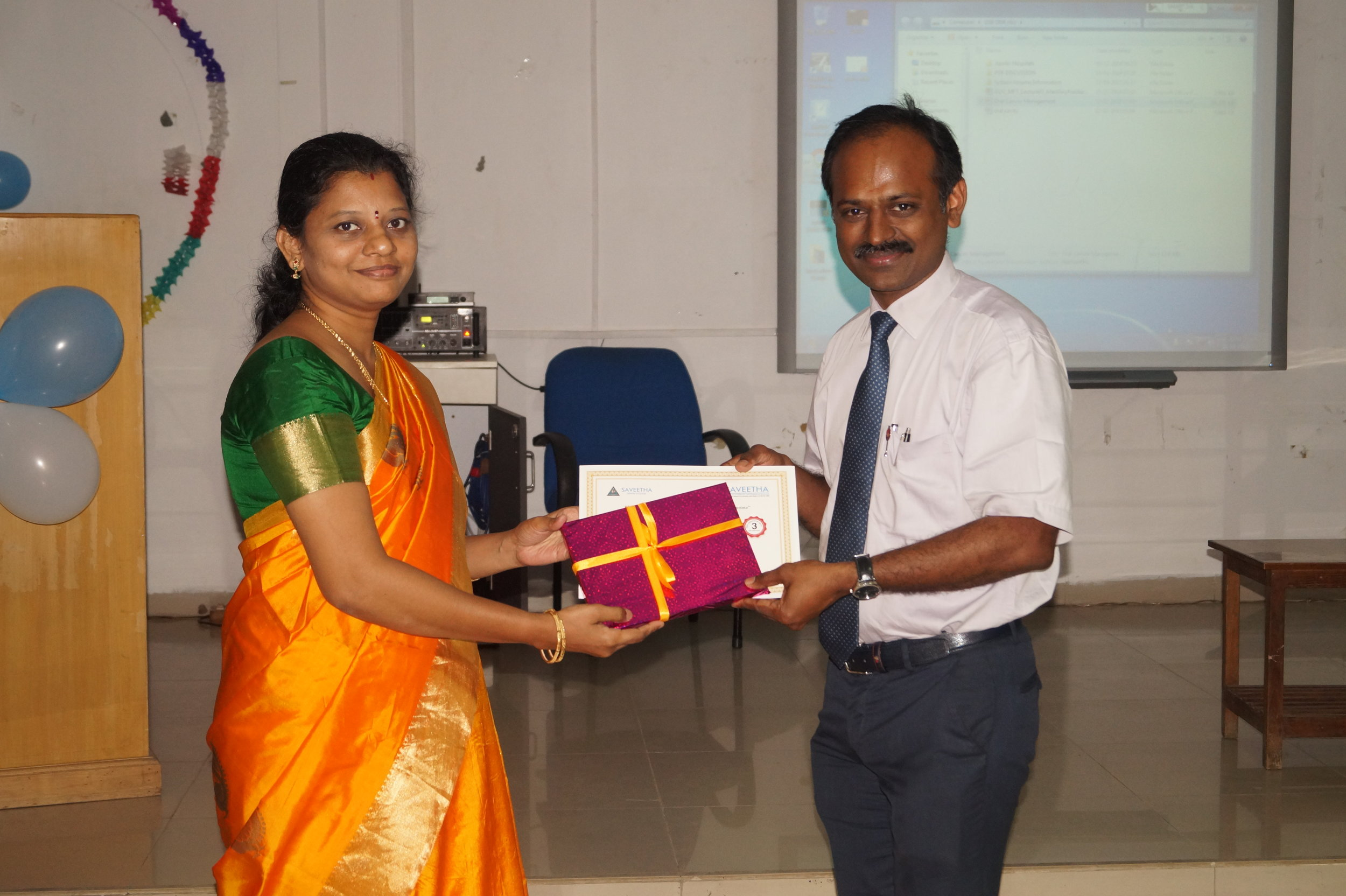Prof. Dr. Senthilnathan, being felicitated by Dr.M.P. Brundha