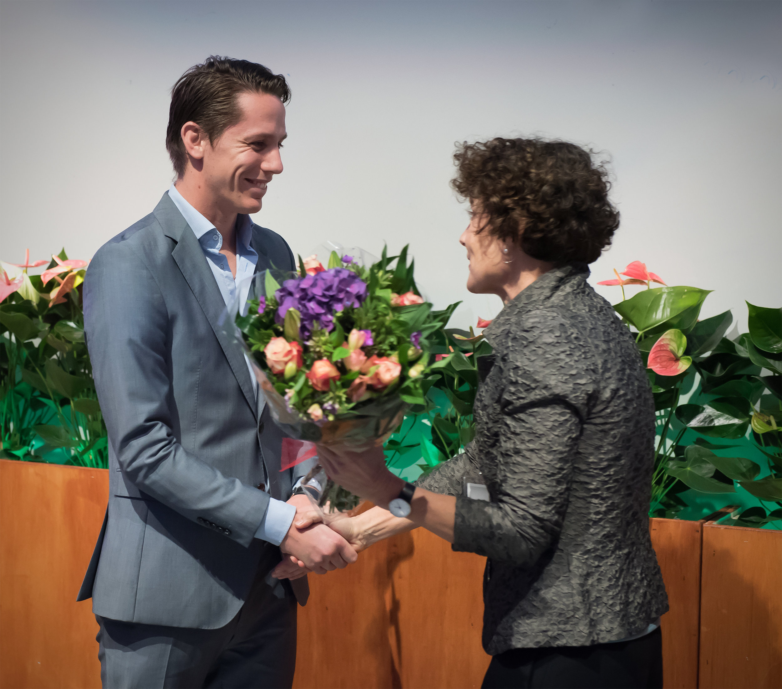 University of Amsterdam president Ms. Ten Dam and Boxing A Game Of Life founder Jacob Schaap