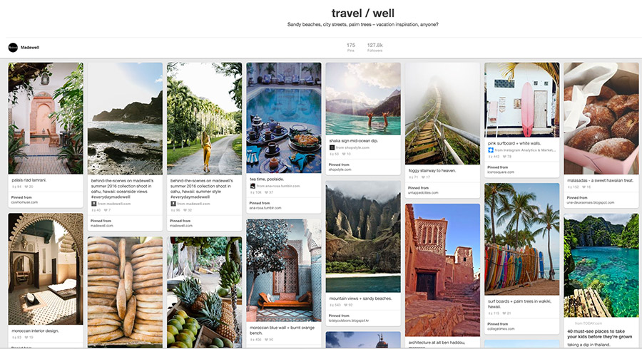 Pinterest strategies by Nellaino I Madewell travel board