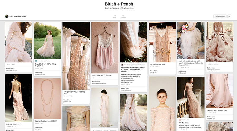 Petra Veikkola's wedding inspired Pinterest boards