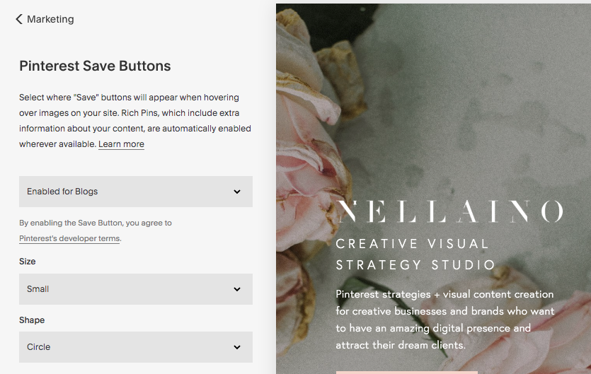Learn how to edit and amend your Pinterest Save buttons on your Squarespace website and blog. Visit my blog and read the whole blog post: www.nellaino.com/blog #squarespacetips #pinterestadvice #savebuttons #pinterestbuttons #bloggingtips