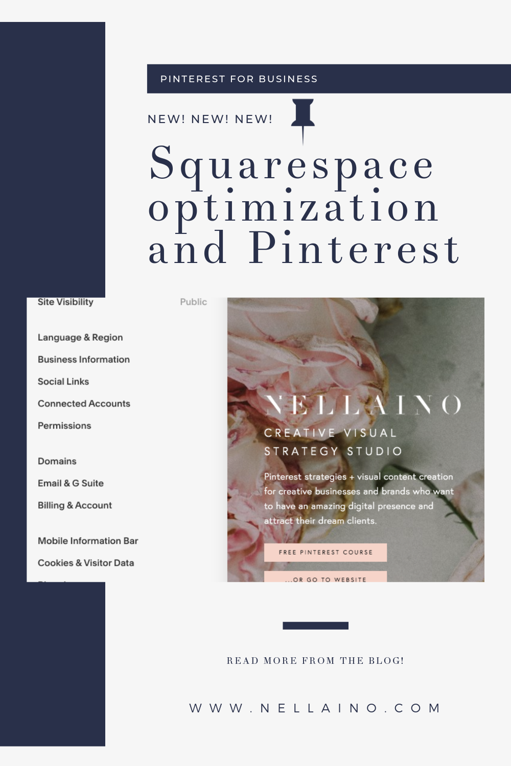 You have not read this anywhere else! The complete guide how to use Squarespace blog and website together with Pinterest, and optimize it perfectly! Visit www.nellaino.com/blog #squarespacetips #pinteresthelp #seo #pinterestmarketing