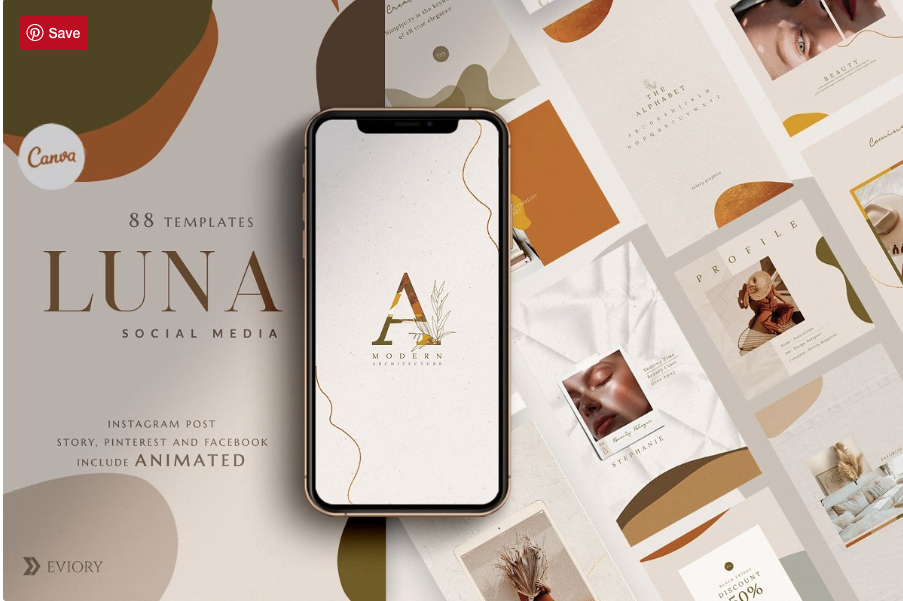 PS & Canva Luna - Social Media Pack by Eviory