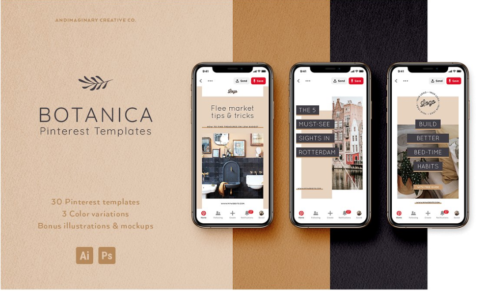 BOTANICA 30 Pinterest Templates By Andimaginary Creative Co.