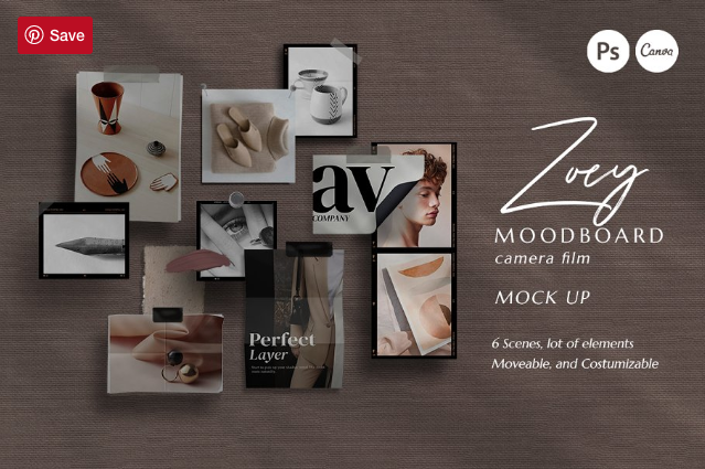 PS & Canva Zoey Moodboard Mockup by Eviory