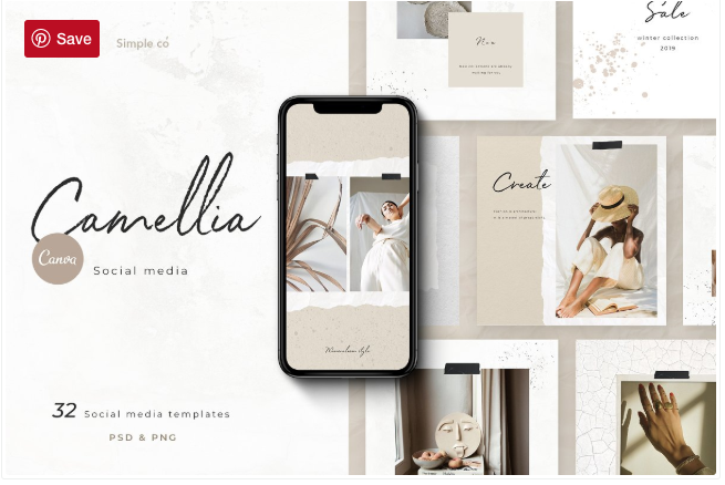 CANVA & PS / Camellia Social media by Simple co