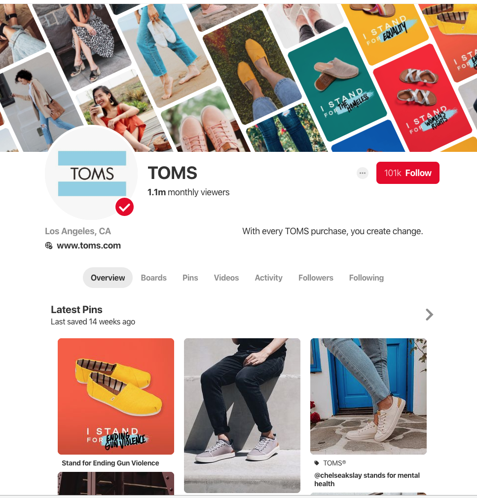 Pinterest markkinointi on tehokasta ja edullista. Katso TOMS:n Pinterest-tili ja ota vinkkejä sieltä omaan markkinointiisi. www.nellaino.com/blog #nellaino #pinterestmarkkinointi #toms