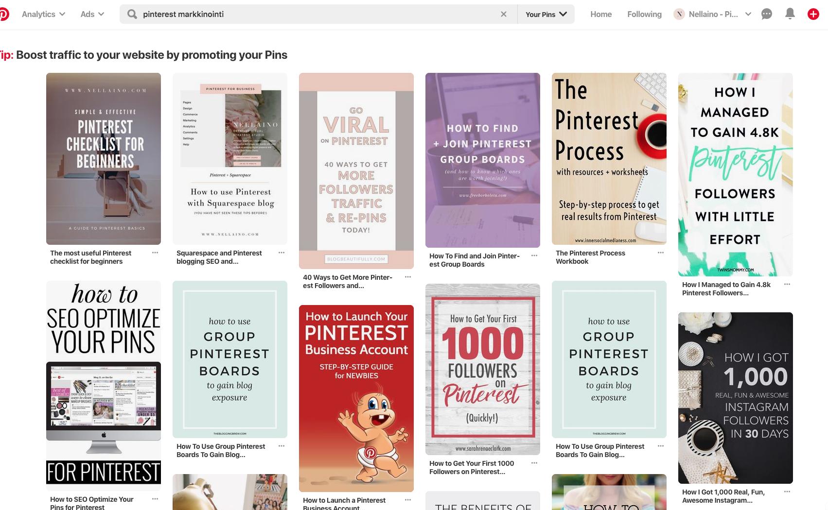 Pinterest markkinointi ja pinnit Pinterestissä #nellaino #pinterestvinkit