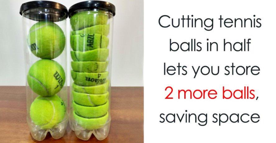 Cut Tennis Balls in half