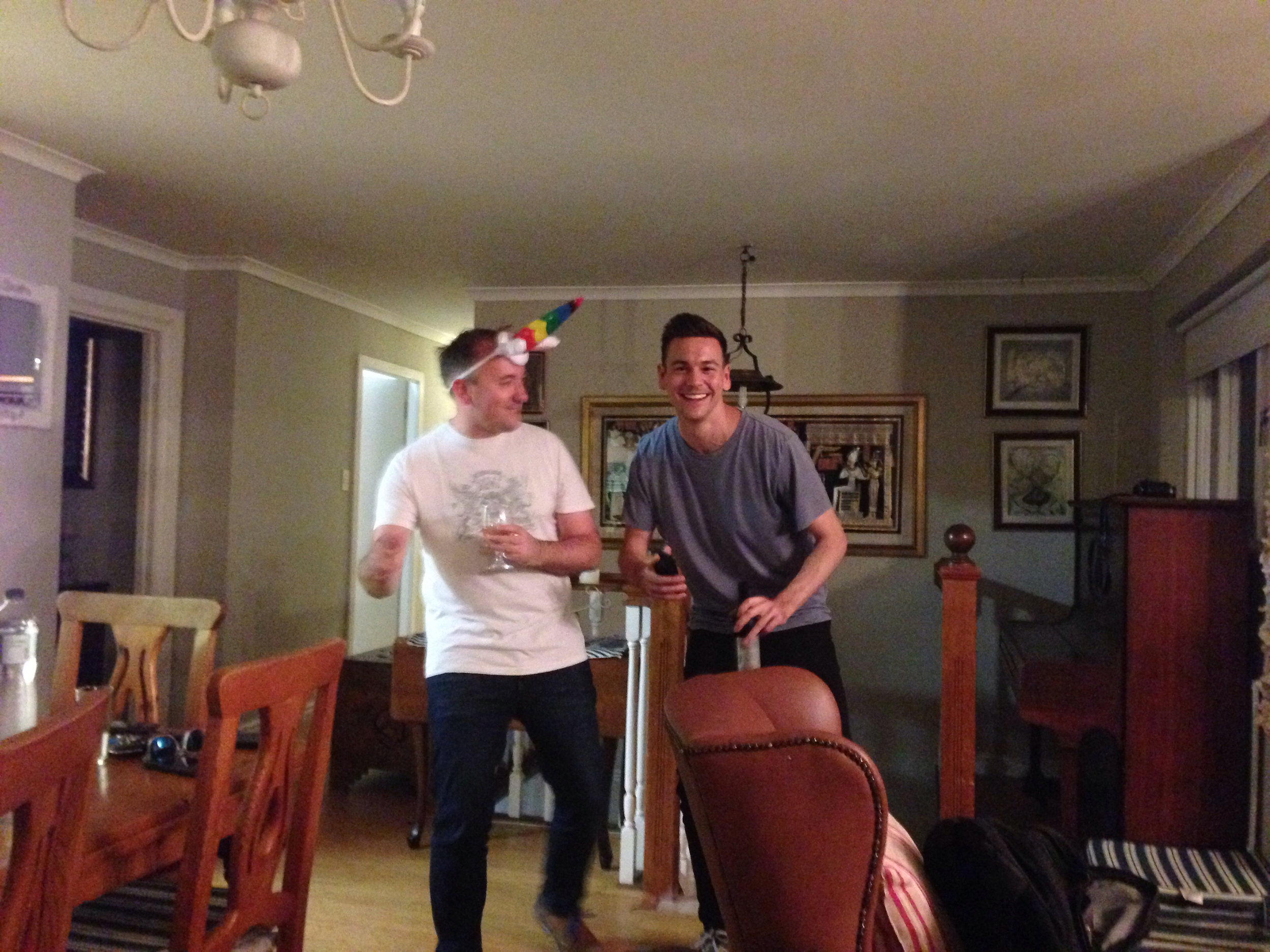 Founders Chris and Jake do the unicorn dance of business prosperity.
