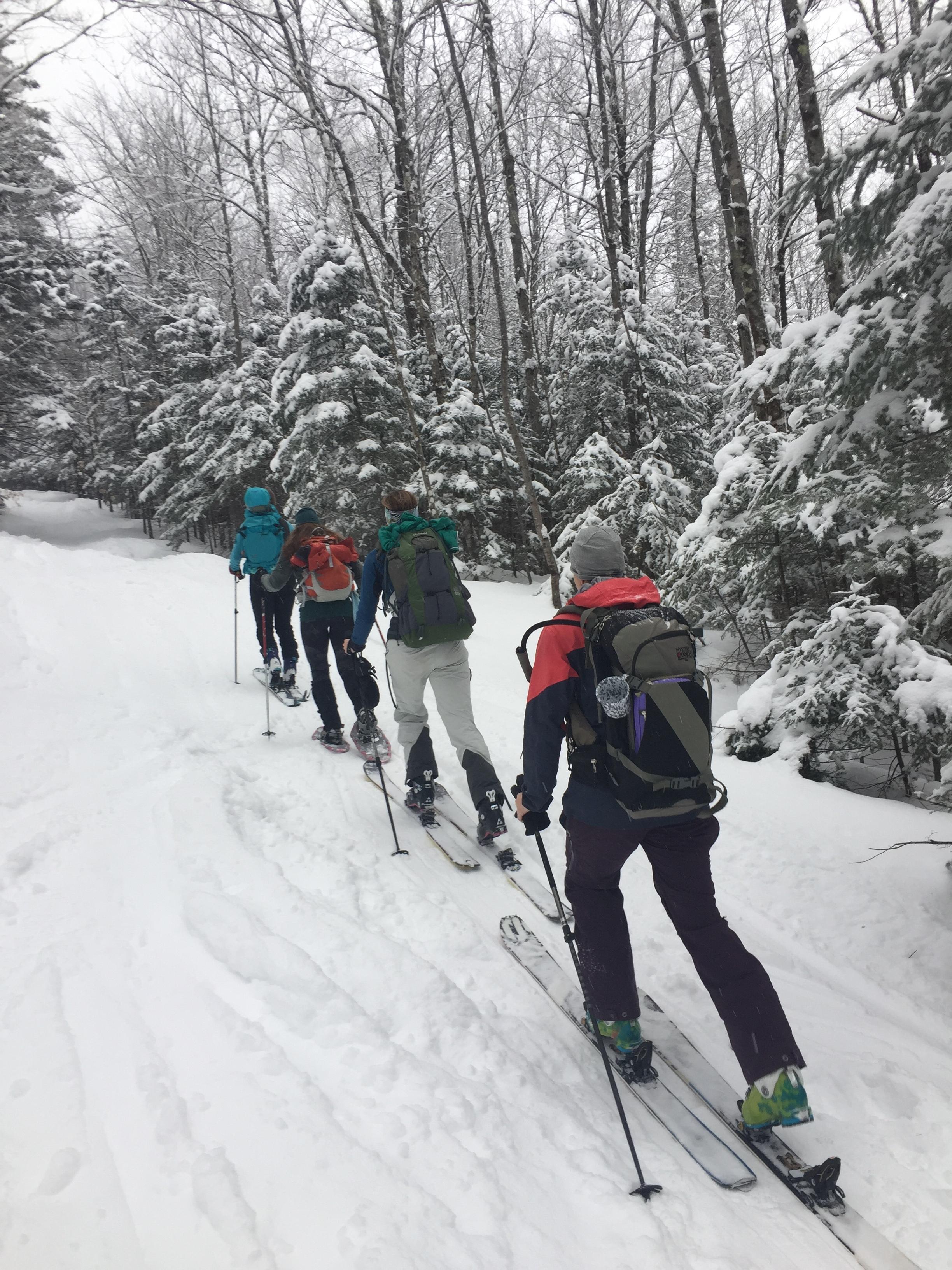 Group skin up Black Mountain Trail in Jackson, NH. Feb. Retreat 2017