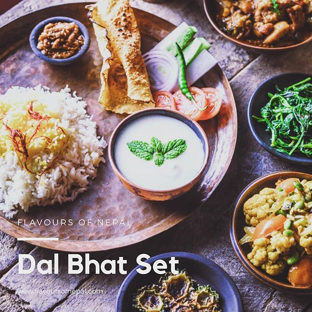 Nepali Dal Bhat Set. The one think Nepalese people need on a daily base and most please even twice a day. It's a amazing combination of flavours and healthy ingredients. #dalbhat #nepali #food #foodphotography #pimhorversphotography #tasty #veg #vegi #healthyfood #flavoursofnepal