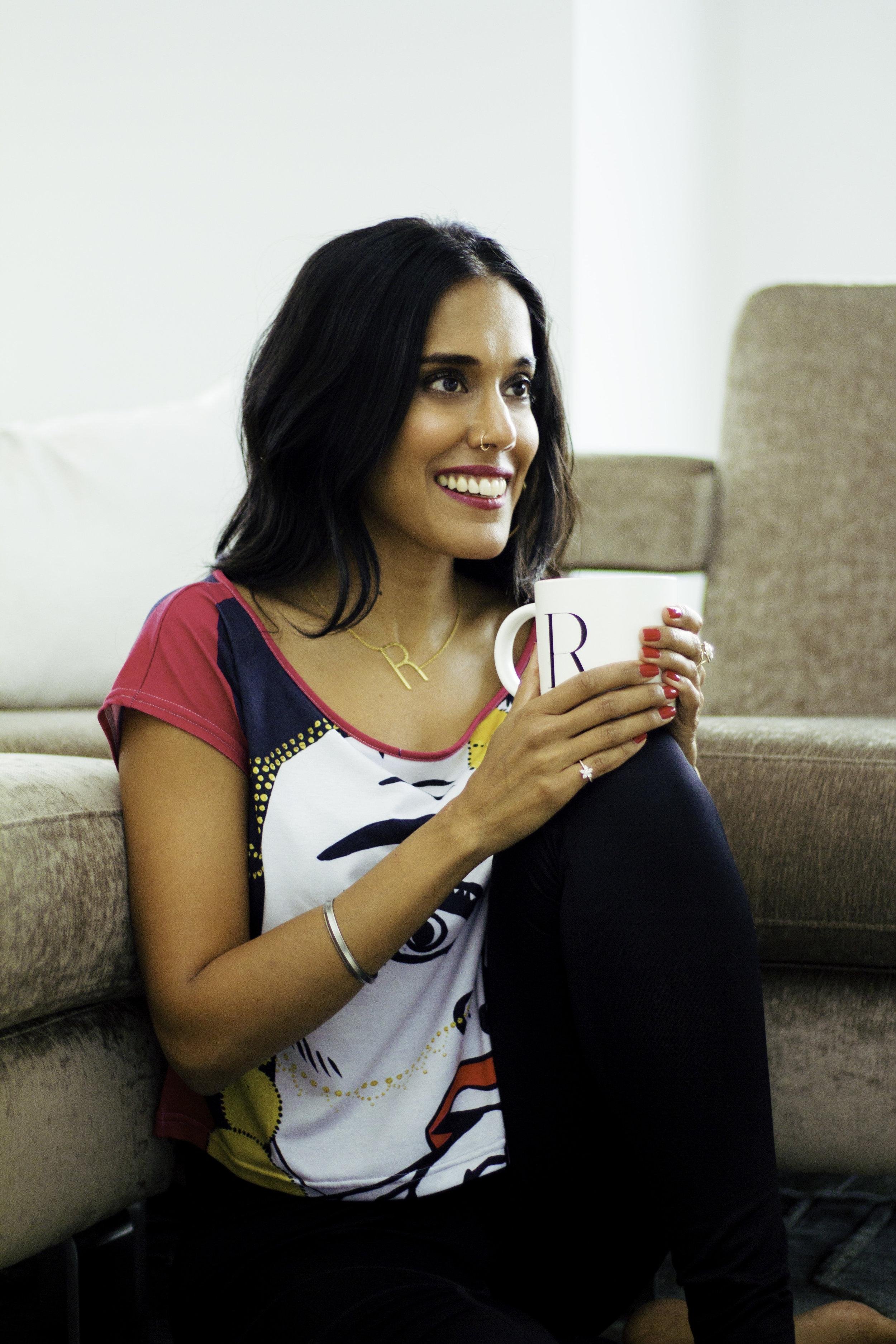 Ritu Bhasin relaxing at home